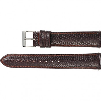 16mm Regular Brown Leather Lizard Grain Padded Watch Strap