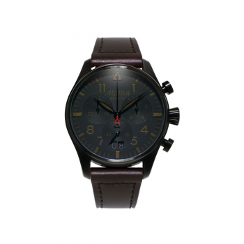 Alpina Men's Black Case Startimer Pilot Watch