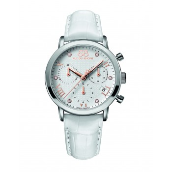 Rue du Rhone Double 8 Ladies White Chronograph Watch
