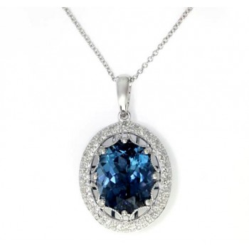 EFFY 14kw 5.18ct London Blue Topaz/ .18ctw Diamond Pendant