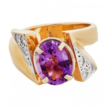 14k Yellow Gold 9.5x7.5mm Oval Amethyst and .10ctw Round Diamond