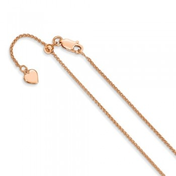 Leslie Sterling Silver 1.2 Mm Rose Gold-Plated Adjustable Wheat C