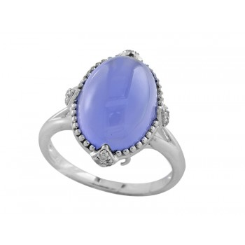 EFFY Sterling Silver Chalcedony and Diamond Ring