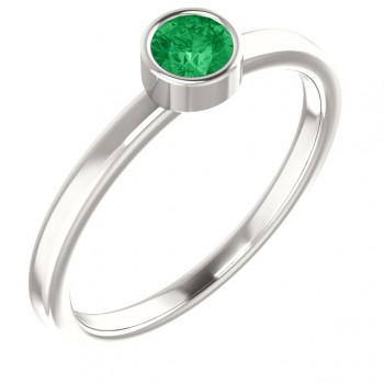 Imitation Emerald Ring / Sterling Silver