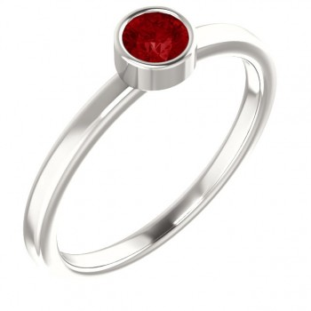 Imitation Ruby Ring / Sterling Silver