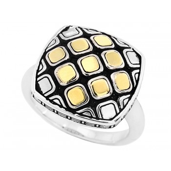 Ladies 2-Tone Ring / Silver & 18 Kt.