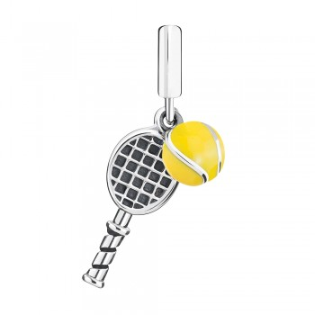 Game Set Match Charm with Yellow Enamel