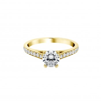Ladies .300 Ctw Round Cut Diamond Semi-mount / 14 Kt Y